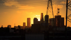 4K. Los Angeles city. Sunset downtown LA skyline. Motion timelapse (hyperlapse) Stock Footage