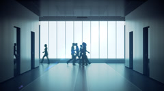 Silhouettes of a crowd of people walking in lobby.Time lapse people move Stock Footage
