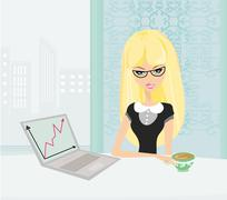 Beautiful secretary working with computer in office Stock Illustration
