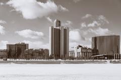 View of quay wharf embankment Yekaterinburg, Russia - stock photo