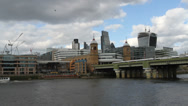 Stock Video Footage of Cannon Street station and river traffic London
