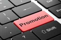 Marketing concept: Promotion on computer keyboard background - stock illustration