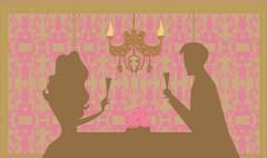 young couple silhouettes flirt and drink champagne in restaurant - stock illustration