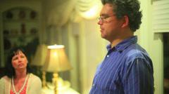 Guy talk talking wife Stock Footage