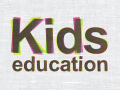 Education concept: Kids Education on fabric texture background Stock Illustration