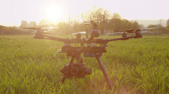 SLOW MOTION: Propellers start spining on a drone Stock Footage