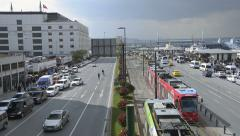 Car traffic, red tram, aerial, Istanbul, four way traffic on square time lapse Stock Footage