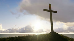 Cross on a mountain top Stock Footage