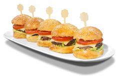 hamburgers on a plate - stock photo