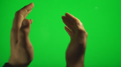Hands Clapping On The Side On A Green Screen, Chroma, Key, Gesture Stock Footage