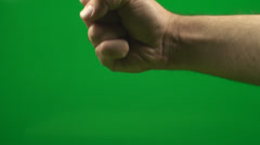 Rock, Paper, Scissor, Hand Makes The Scissor Gesture On Green Screen,Chroma, Key Stock Footage
