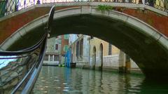 Venezia, Venice pov of a gondola travelling under Ponte de la Fava Stock Footage