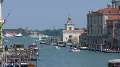 Venezia, the Grand Canal, from Ponte dell'Accademia and waterbus Stock Footage