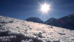Snow winter landscape background. sun sunshine. weather Stock Footage