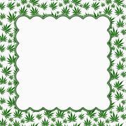 Marijuana leaves frame with embroidery background Stock Illustration