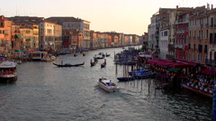 Venice, the Grand Canal at sunset from Rialto Bridge Stock Footage