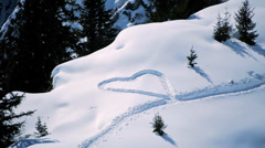 Snow hearts. love symbol. romantic romance. snow winter season Stock Footage