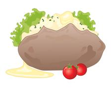 baked potato - stock illustration