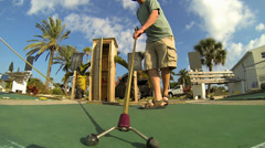 SHUFFLEBOARD_LOW, POINT OF VIEW SHOT Stock Footage