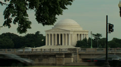 Thomas Jefferson Memorial From Across Traffic Stock Footage