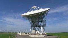 A 32 m radioastronomical parabolic antenna Stock Footage