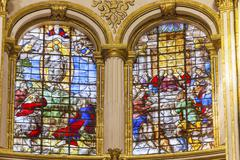 Ascension last supper stained glass basilica cathedral andalusia granada spai Stock Photos