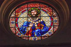 Saint gregory stained glass basilica cathedral andalusia granada spain Stock Photos
