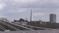 Stock Video Footage of The Shard and Chelsea Bridge London