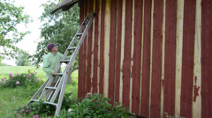 Painter man on ladder paint wooden garden house wall with brush Stock Footage