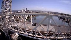 Aerial Approach and Flyover of Bridge Over Bay - stock footage