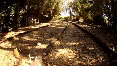 Low Flying Aerial over Railroad Tracks with Leaves Blowing - stock footage