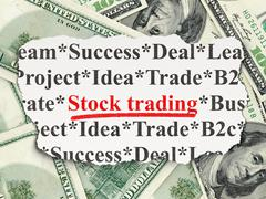 Stock Illustration of Business concept: Stock Trading on Money background