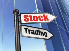 Finance concept: sign Stock Trading on Building background - stock illustration