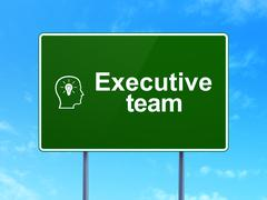 Finance concept: Executive Team and Head With Lightbulb - stock illustration