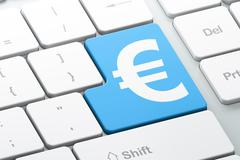 Currency concept: Euro on computer keyboard background Stock Illustration