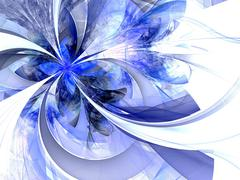 symmetrical blue fractal flower, digital artwork for creative graphic - stock illustration