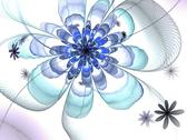 Stock Illustration of symmetrical blue fractal flower, digital artwork for creative graphic