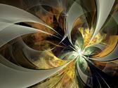 Stock Illustration of symmetrical gold fractal flower, digital artwork for creative graphic