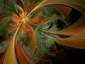 Stock Illustration of symmetrical orange fractal flower, digital artwork for creative graphic