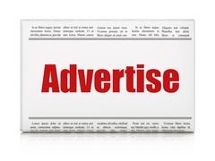 Advertising concept: newspaper headline Advertise Stock Illustration