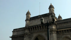 India Maharashtra District Mumbai 032 turrets on gateway of india Stock Footage