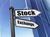 Stock Illustration of Business concept: sign Stock Exchange on Building background