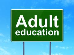 Stock Illustration of Adult Education on road sign background