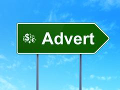 Stock Illustration of Advertising concept: Advert and Finance Symbol on road sign
