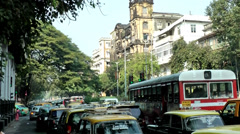 India Maharashtra District Mumbai 040 much traffic in a street Stock Footage
