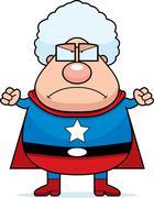superhero grandma angry - stock illustration