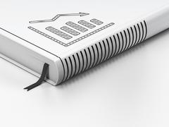Advertising concept: closed book, Decline Graph on white - stock illustration