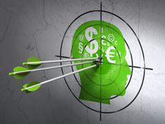 Business concept: arrows in Head With Finance Symbol target Stock Illustration