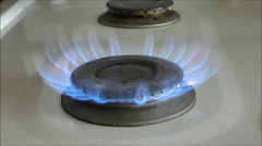 Stove Gas Burner slow/motion Stock Footage