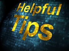 Education concept: Helpful Tips on digital background - stock illustration